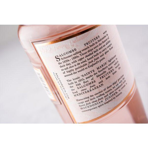 Salcombe - Rose Sainte Marie Gin - bottle label reverse