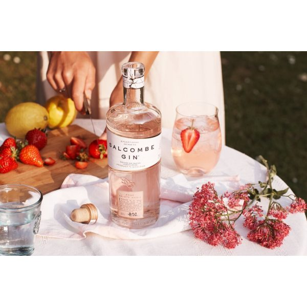 Salcombe - Rose Sainte Marie Gin - bottle on picnic table