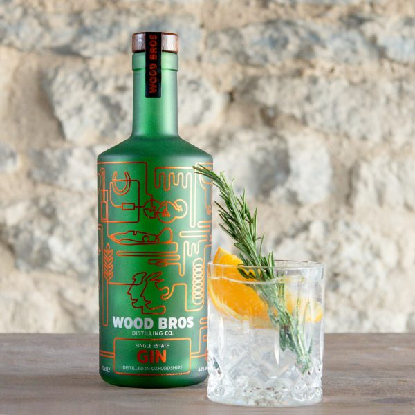 Wood Bros - Single Estate Gin bottle with glass